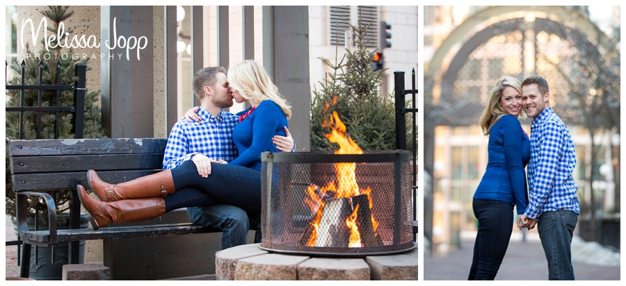outdoor fire St. Paul Winter Engagement Session with Wedding and Engagement Photographer Victoria MN