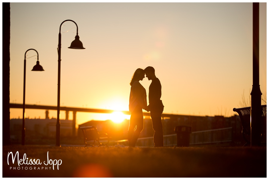 St. Paul silhouette engagement photo with Wedding and Engagement Photographer Victoria MN
