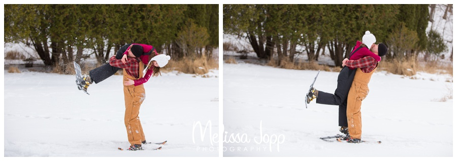 cross country skiing engagement session with chanhassen mn wedding and engagement photographer