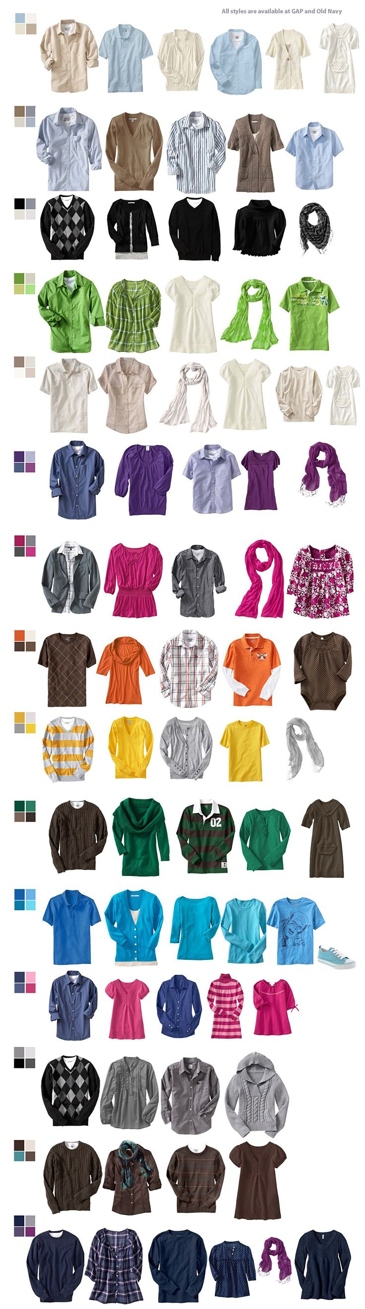 color coordination clothing chart for help in deciding what to wear for family portraits victoria mn family portrait photographer