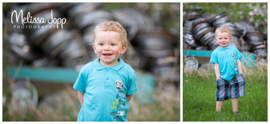 ... little boy in blue at junkyard with waconia mn photographer ...