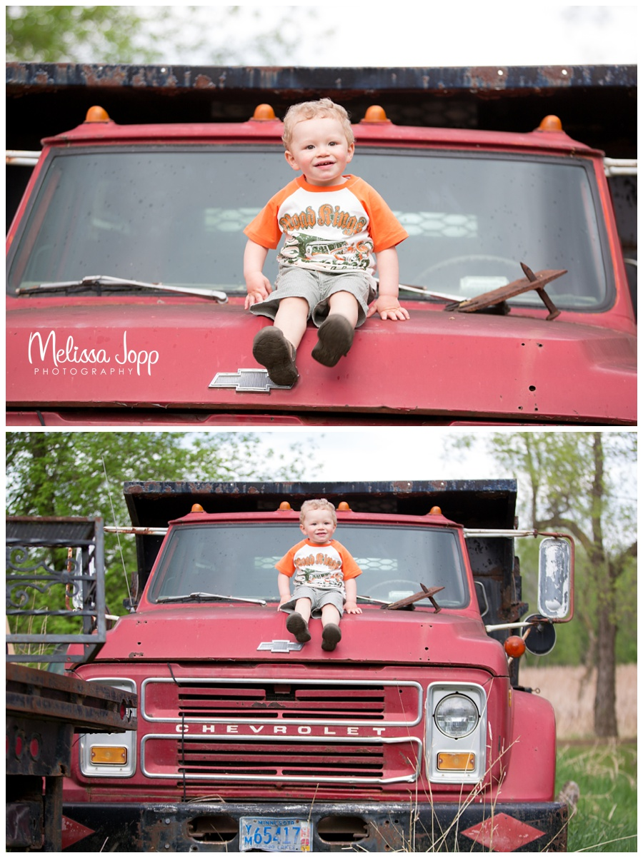 old chevy truck little boy photo session in waconia mn