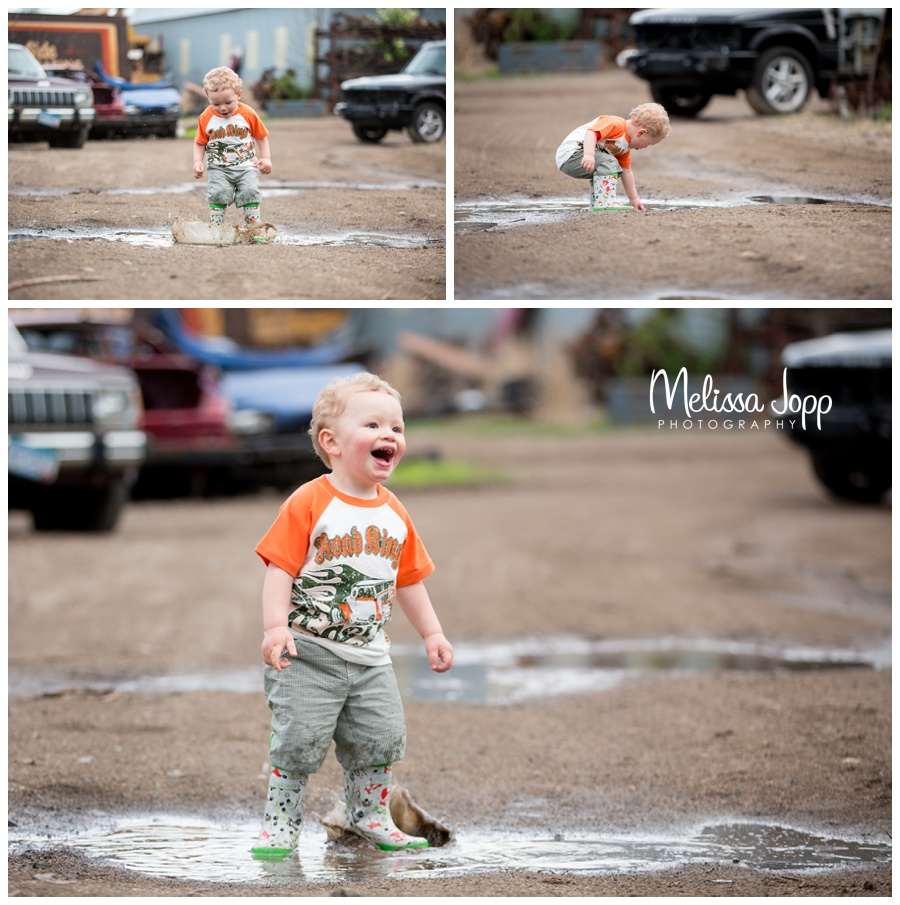 little boy puddle jumping unique session with waconia mn photographer
