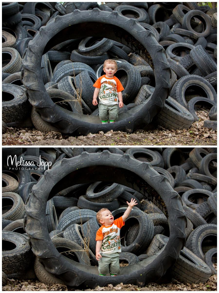mn child portrait photographer at junkyard