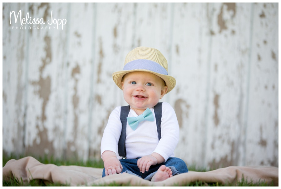 baby boy wearing fedora 6 month baby pictures victoria mn