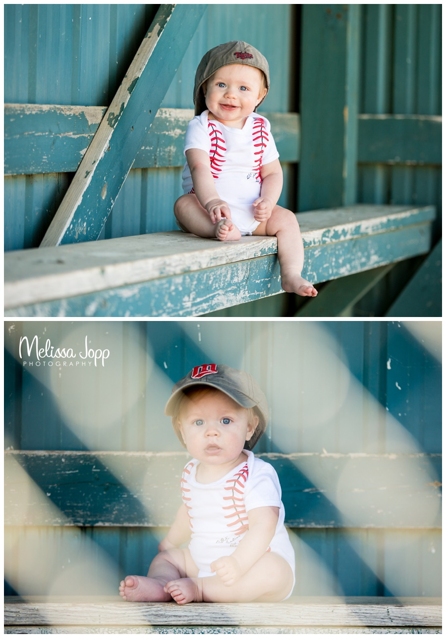 6 month pictures with baseball hat waconia mayer mn photographer