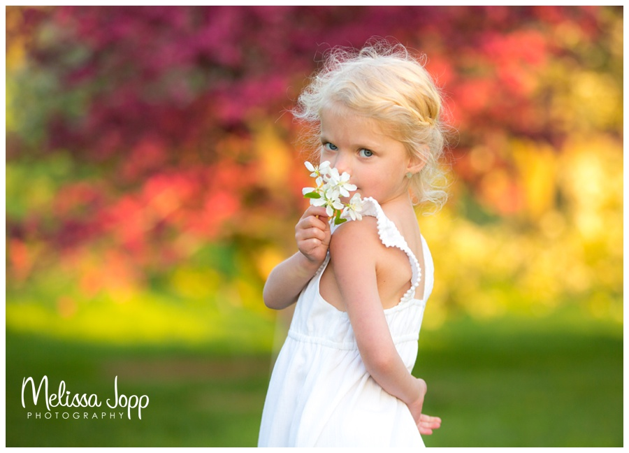 spring pictures with child in apple blossoms mayer mn photographer
