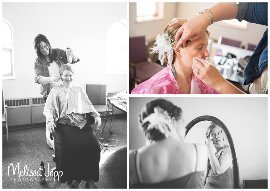 bride getting ready photos with wedding photographer in mn