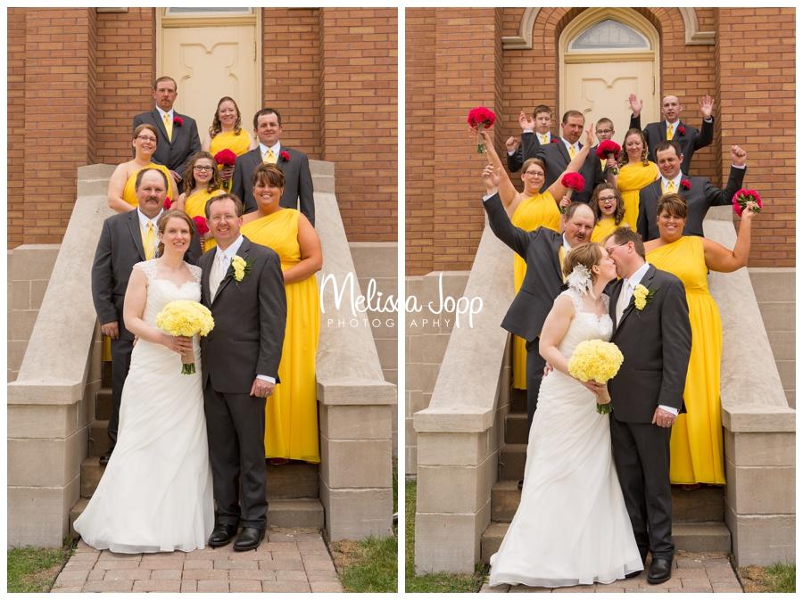 wedding party yellow and pink church wedding victoria mn wedding photographer