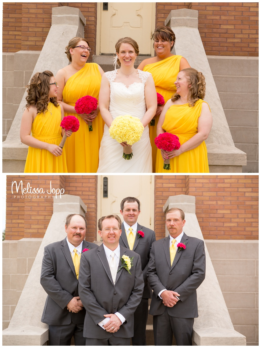 bride and bridesmaids groom and groomsmen outside of church norwood young america wedding photographer