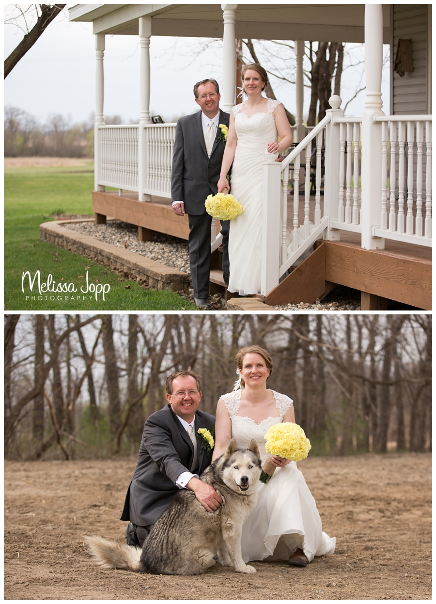 bride and groom on the farm pictures with dog wedding photographer in mn
