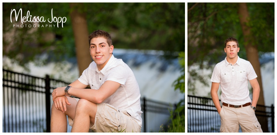 male senior pictures by waterfall with jordan MN photographer