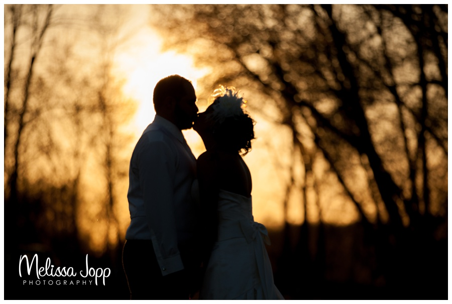 silhouette of bride and groom mn