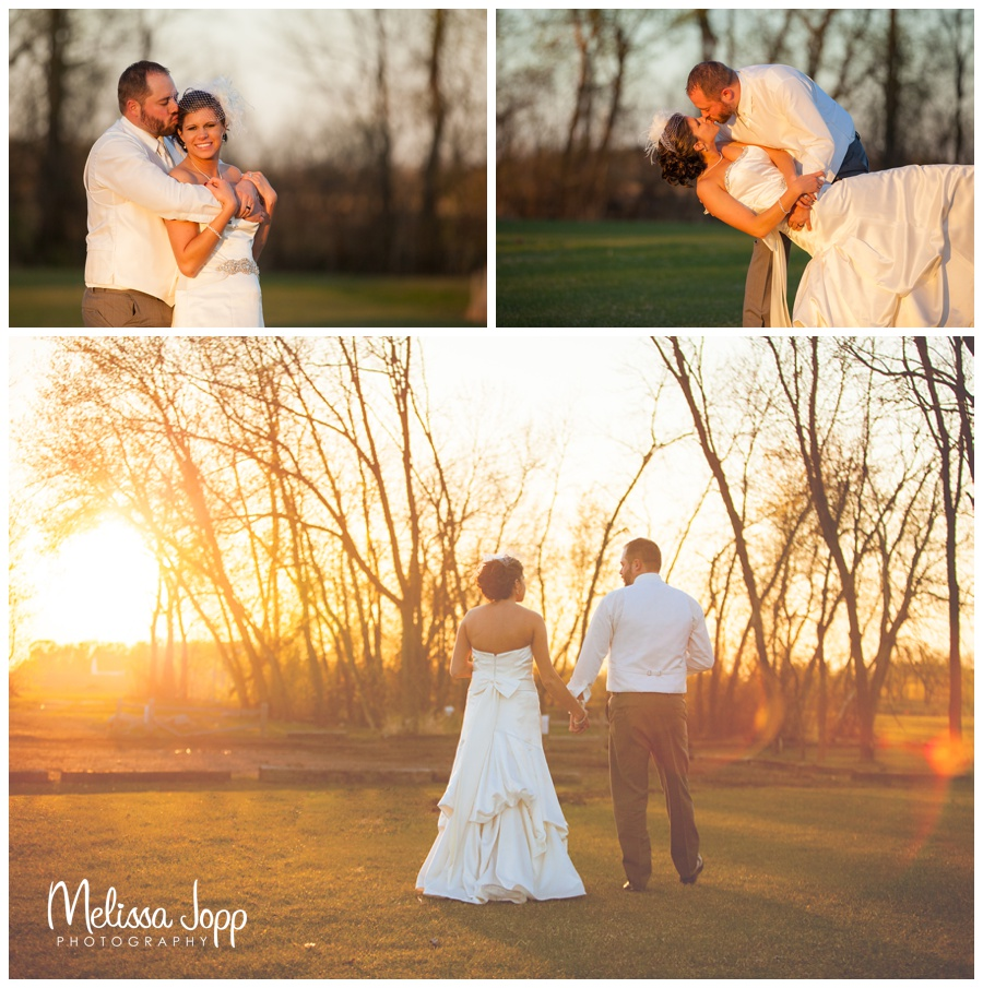 bride and groom at sunset with  wedding photographer near hutch mn