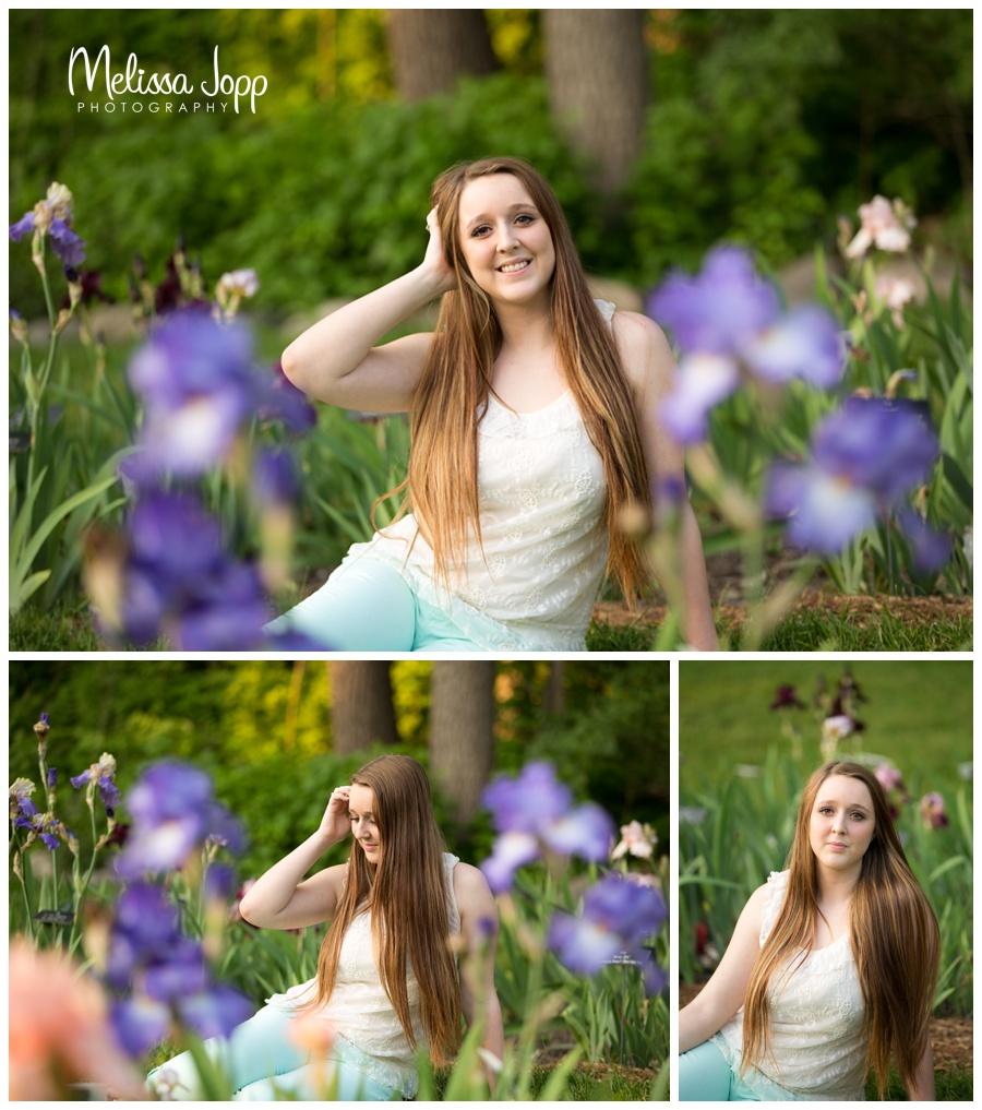 senior pictures in flower garden with chaska mn senior photographer