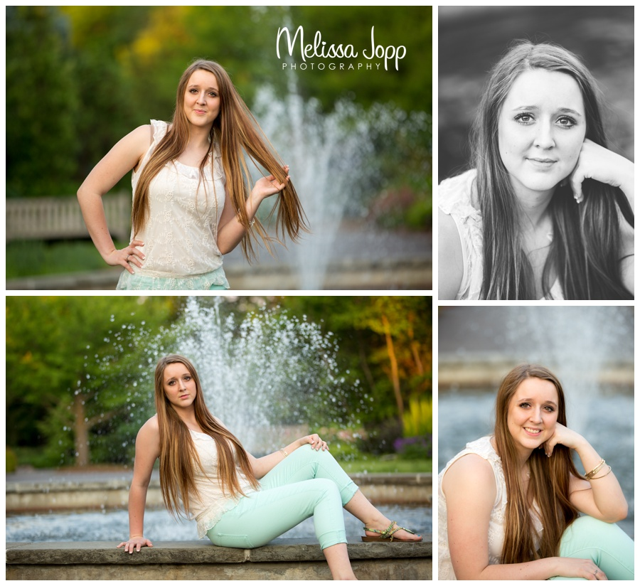 senior pictures in front of fountain with senior portrait photographer in chanhassen mn
