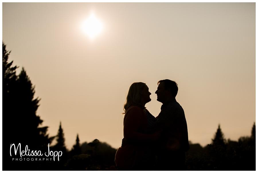 silhouette of engaged couple chaska mn wedding photographer