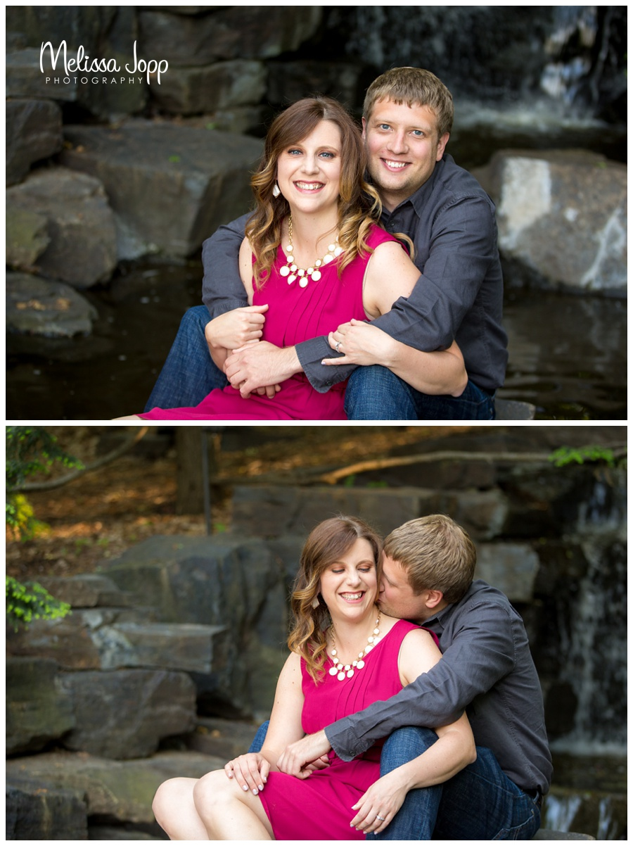 engagement pictures with waterfall at the mn arboretum and chaska mn wedding and engagement photographer