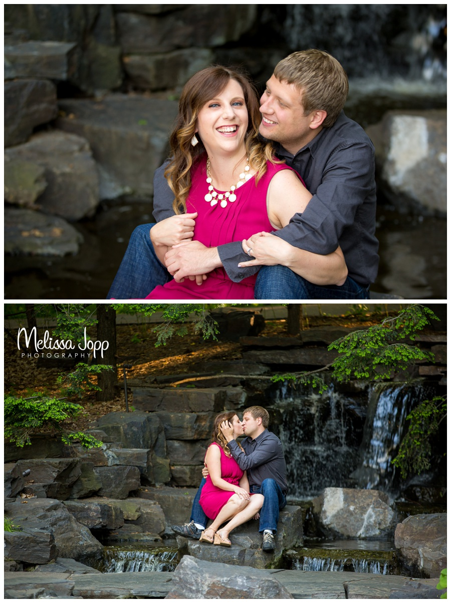 engagement photos with waterfall at the mn landscape arboretum and chaska mn wedding and engagement photographer