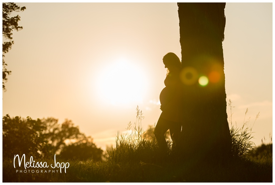 silhouette from maternity session in mayer mn