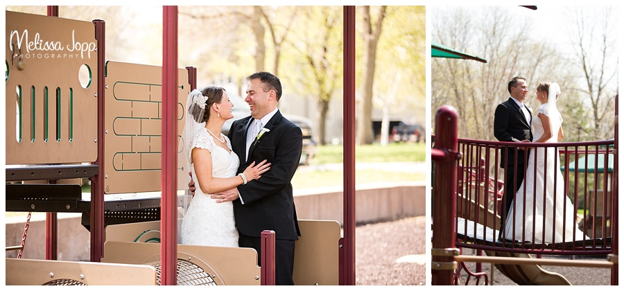 bride and groom pictures at the park mn