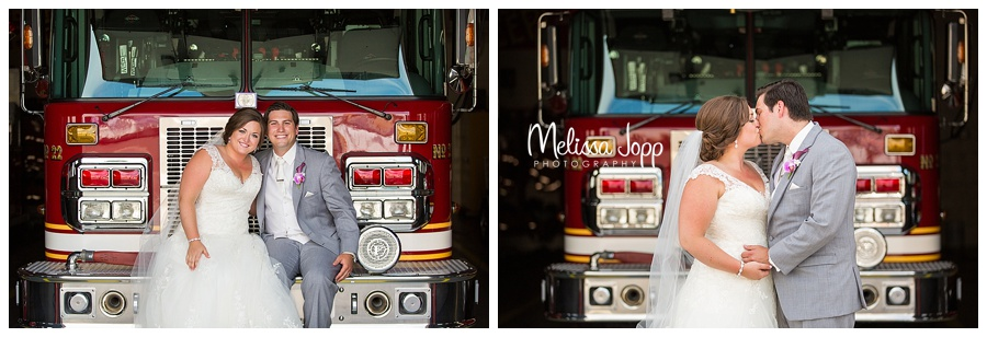 wedding pictures by a firetruck chaska mn