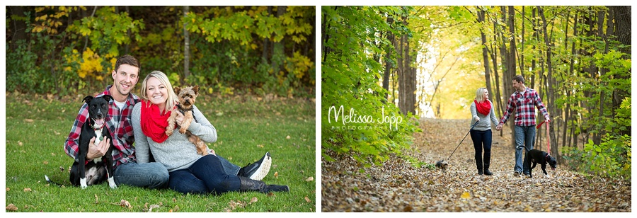 outdoor engagement session with dogs chanhassen mn