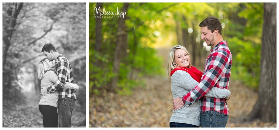 outdoor fall engagement pictures on walking path chanhassen mn