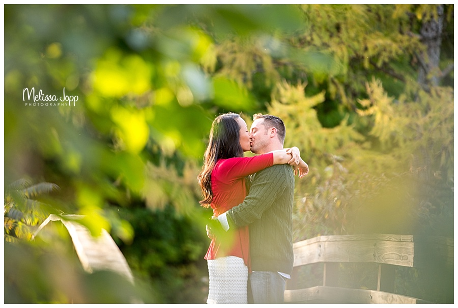engagement picture kissing behind tree chaska mn