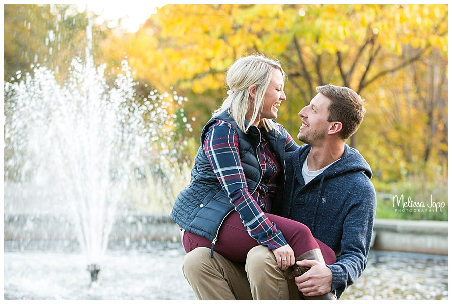 engagement picture with water fountain chaska mn