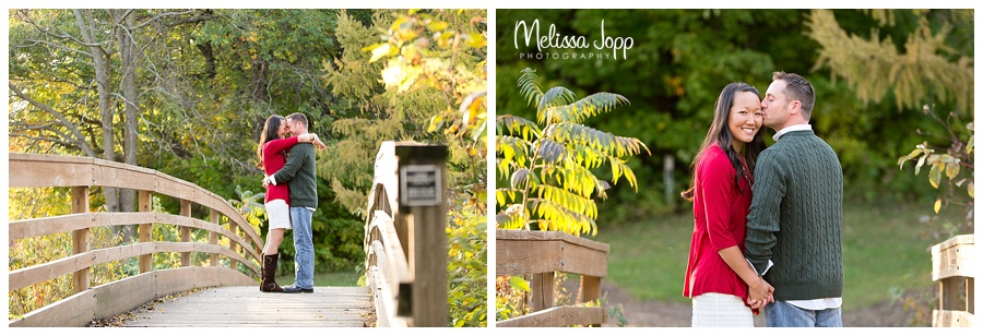 engagement pictures on a bridge chaska mn
