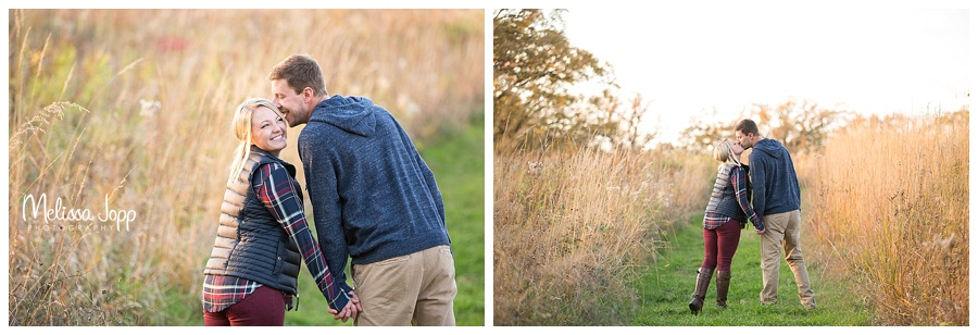 engagement pictures holding hands and walking chaska mn
