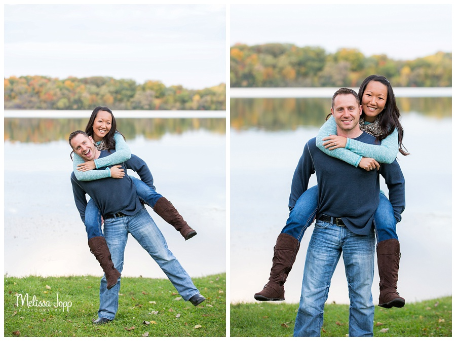 engagement pictures by a lake chaska mn