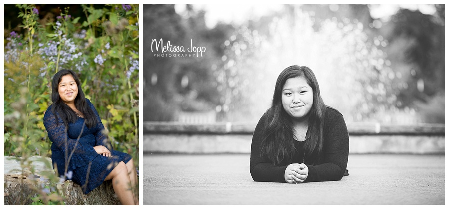 senior pictures by water fountain chaska mn