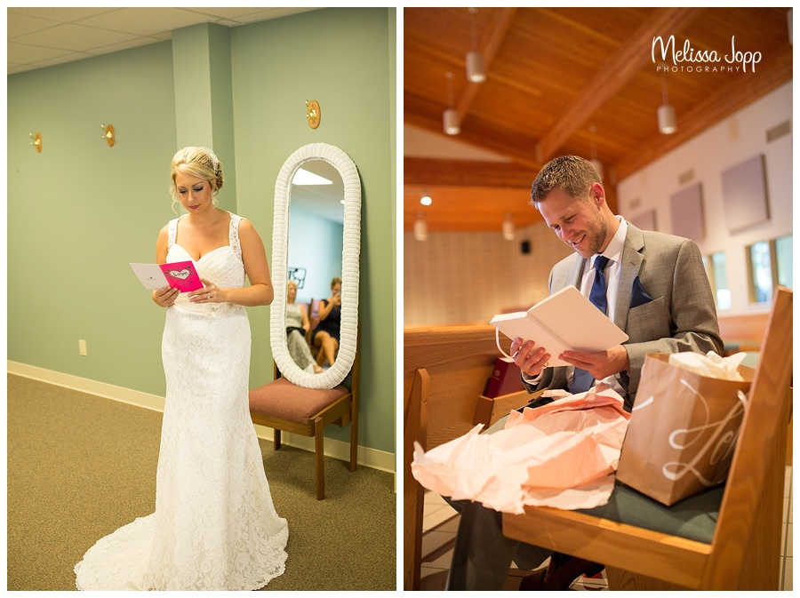 bride and groom opening gifts from each other mn