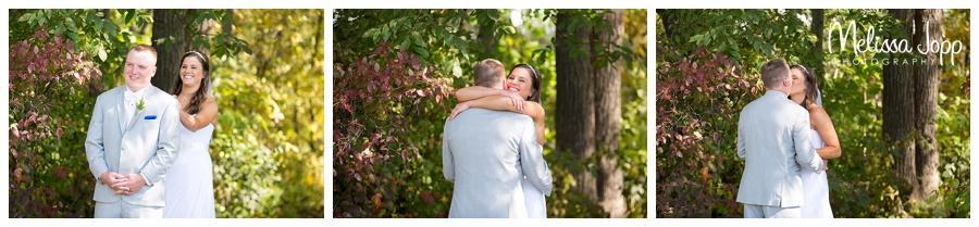bride and groom first look pictures carver county mn