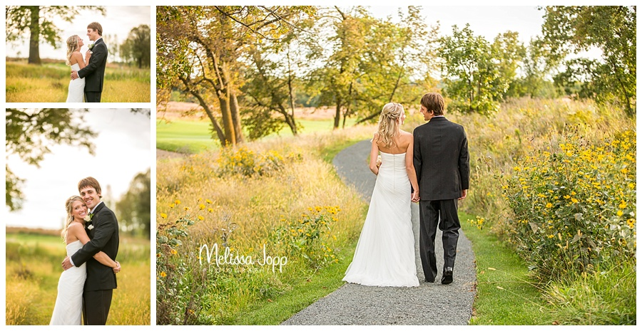 outdoor wedding pictures walking down a path carver county mn