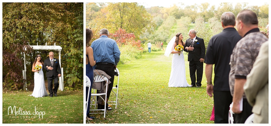 father and bride walking down the aisle carver county mn