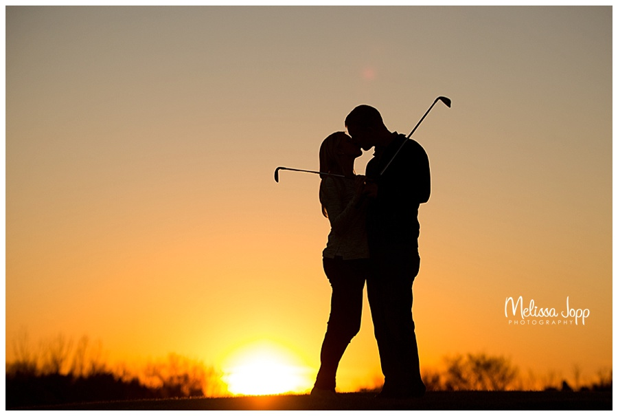 sunset golf course engagement pictures mn