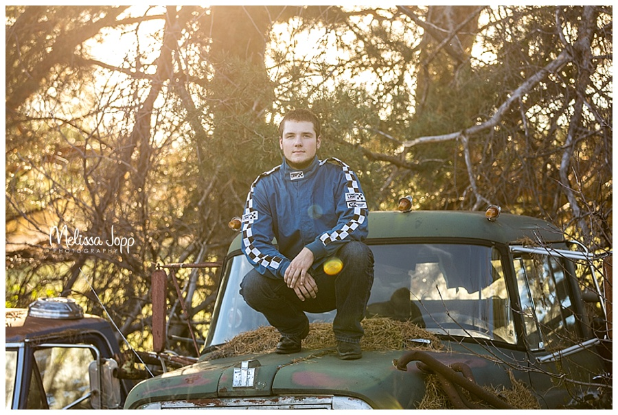 rustic senior pictures with car mn