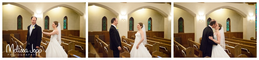 first look church wedding picture chaska mn
