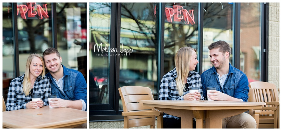 engagement pictures at coffee shop excelsior mn