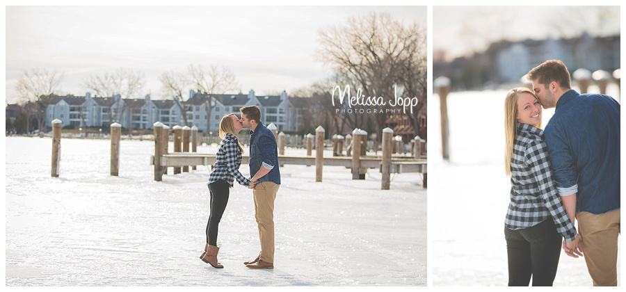 winter engagement pictures on a lake mn