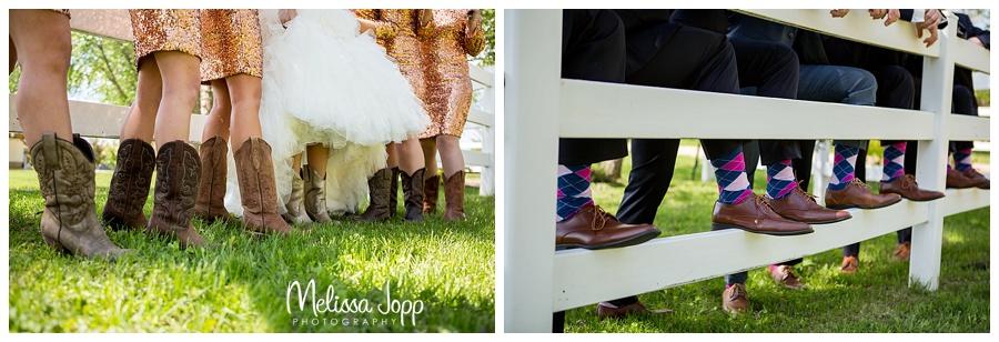 cowboy boots and fun socks at wedding mn