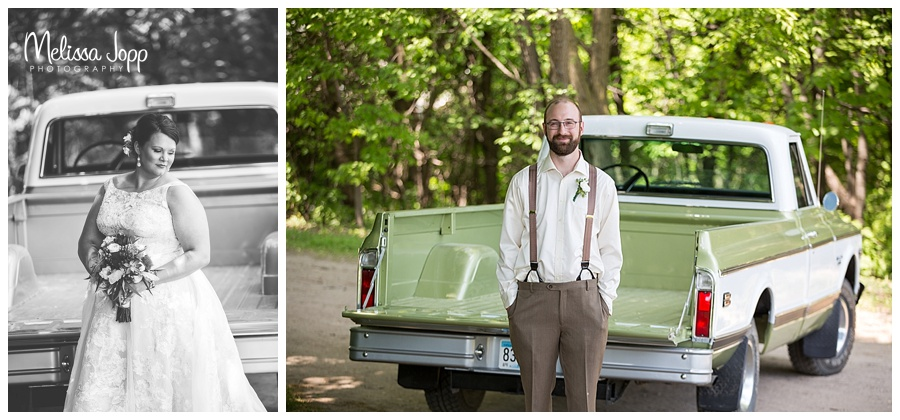 wedding pictures with vintage truck mn