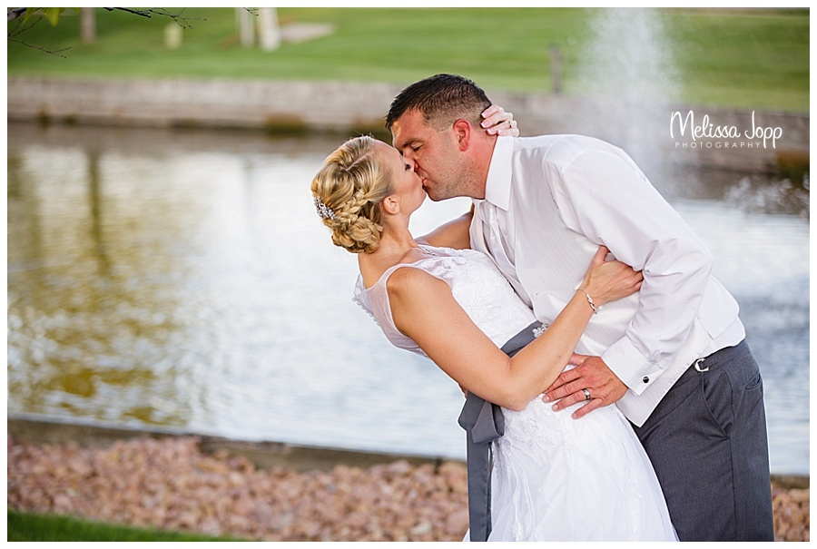 wedding picture by waterfall mn